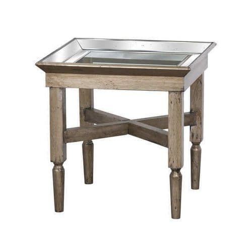 DISTRESSED MIRRORED GLASS WOODEN ANTIQUE STYLE SQUARE SIDE END LAMP TABLE