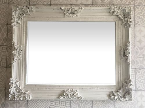 FRENCH BAROQUE ANTIQUE WHITE (Distressed) WALL MIRROR - 95 x 75 cm (37 x 30 ins)