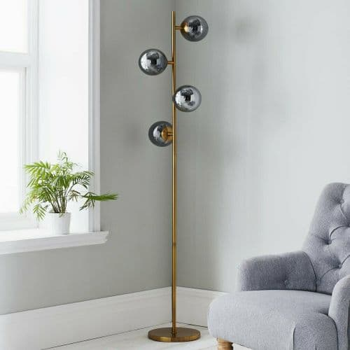 GOLD CONTEMPORARY SMOKED GLASS BALL FLOOR LAMP LIGHT