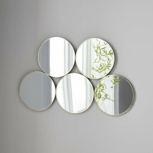GOLD FINISH CONTEMPORARY CIRCULAR ABSTRACT WALL MIRROR