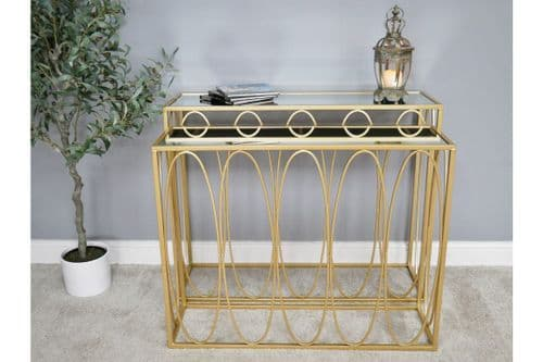 GOLD & GLASS METAL NEST SET OF 2 CONSOLE SIDE HALL TABLES (DX6466)