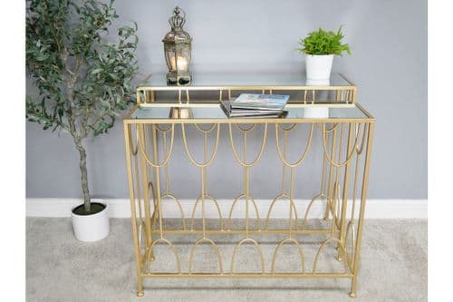 GOLD & GLASS METAL NEST SET OF 2 CONSOLE SIDE HALL TABLES (DX6467)