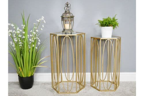 GOLD GLASS METAL NEST SET OF 2 HEXAGONAL SIDE END LAMP COFFEE TABLES (DX6470)