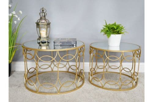GOLD GLASS METAL NEST SET OF 2 ROUND SIDE END LAMP COFFEE TABLES (DX6469)