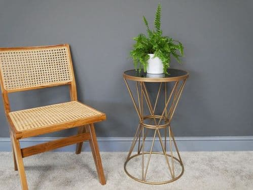 GOLD METAL AND BLACK GLASS TOP ROUND SIDE LAMP END PLANT TABLE STAND