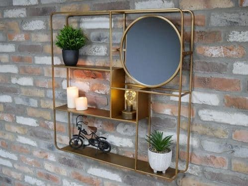 GOLD METAL CONTEMPORARY WALL STORAGE DISPLAY SHELVING UNIT WITH MIRROR (DX6733)