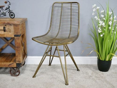 GOLD METAL DINING DRESSING TABLE CHAIR (DX6485)