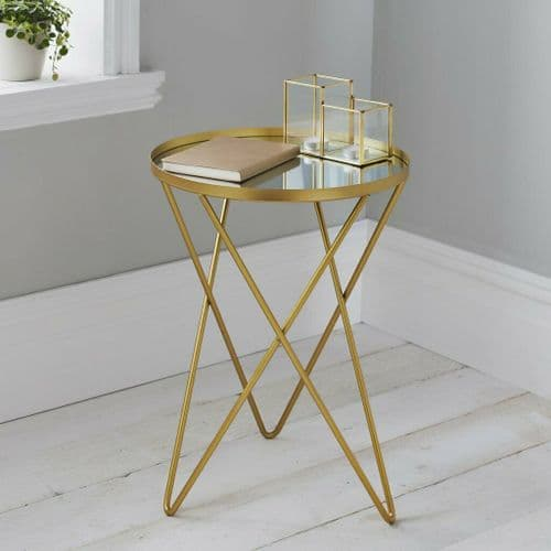 GOLD METAL ROUND MIRRORED GLASS SIDE LAMP END TABLE