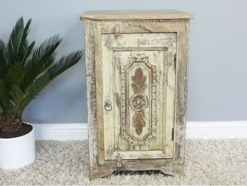 HANDMADE RUSTIC SHABBY CHIC RECLAIMED WOODEN ORNATE BEDSIDE CABINET LAMP TABLE