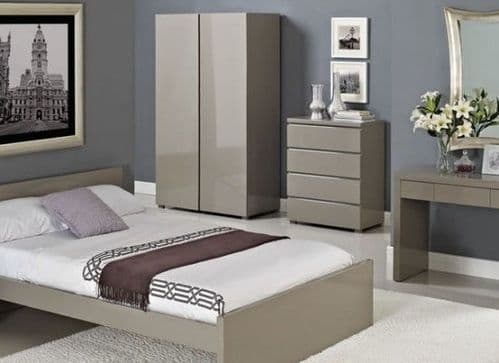 HIGH GLOSS CONTEMPORARY STONE GREY TAUPE BED FRAME - DOUBLE OR KINGSIZE