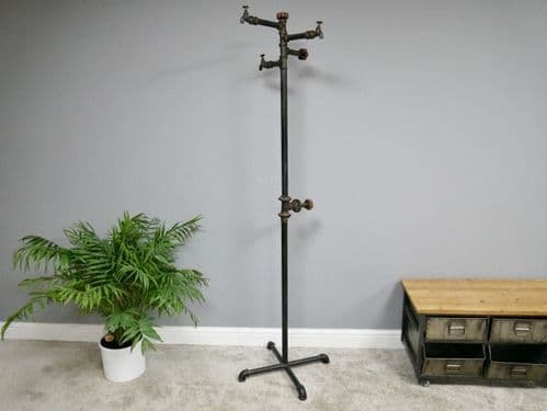 INDUSTRIAL ANTIQUE STYLE METAL PIPE IRON HALL COAT HAT STAND (DX5486)