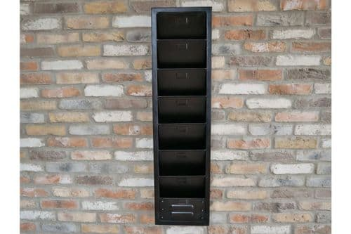 INDUSTRIAL BLACK IRON METAL WALL MOUNTED FILING CABINET (DX6305)