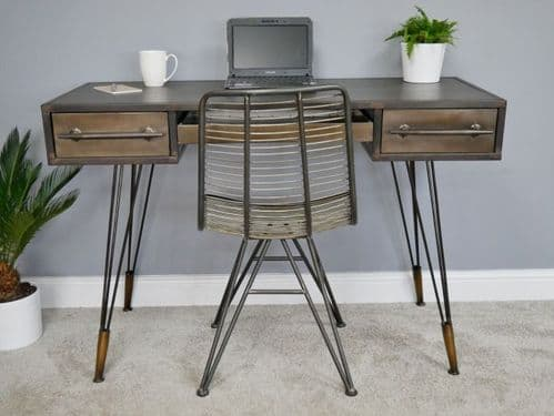 INDUSTRIAL BRONZE BRASS METAL OFFICE STUDY DESK CONSOLE SIDE TABLE - TABLE ONLY