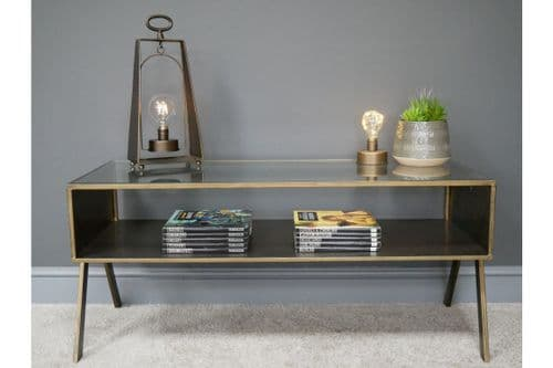 INDUSTRIAL DARK GOLD BRASS METAL GLASS COFFEE TABLE TV STAND UNIT DX6812