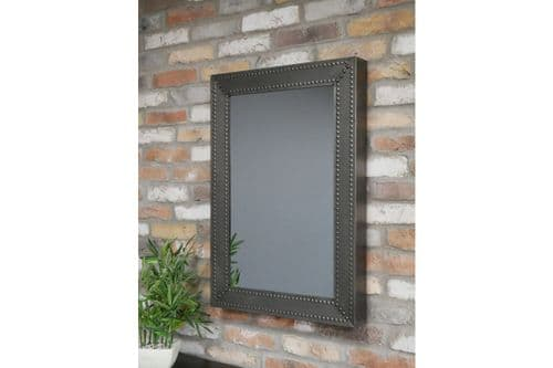 Industrial Grey Black Studded Hammered Metal Wall Mirror (DX6722) 83cm