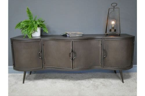 INDUSTRIAL GREY METAL TV TELEVISION CABINET STAND UNIT
