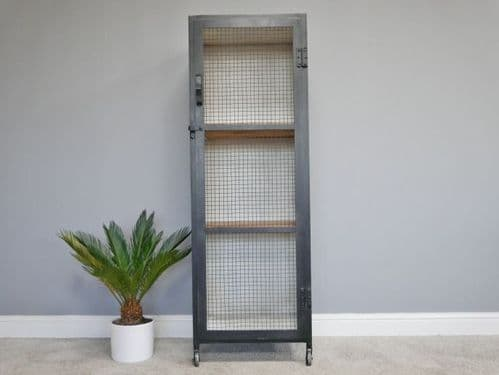 INDUSTRIAL GREY TALL STORAGE DISPLAY CABINET CUPBOARD WITH SHELVES (DX6147)