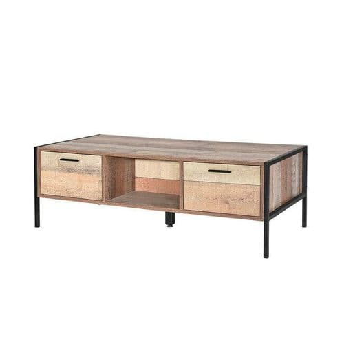INDUSTRIAL LOFT RECLAIMED STYLE OAK EFFECT STORAGE COFFEE TABLE WITH DRAWERS