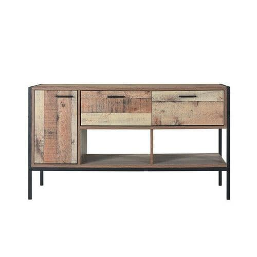 INDUSTRIAL LOFT RECLAIMED STYLE OAK EFFECT TELEVISION TV CABINET UNIT STAND