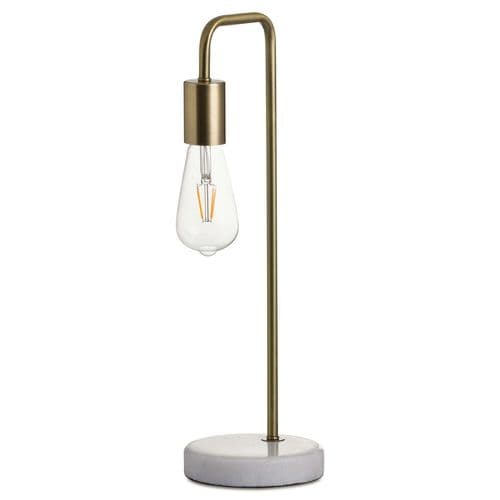 Industrial Loft Style White Marble & Brass Table Desk Lamp (H20164)