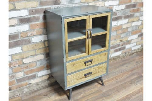 INDUSTRIAL METAL WOOD BEDSIDE CABINET LAMP TABLE WITH DRAWER (DX5254)