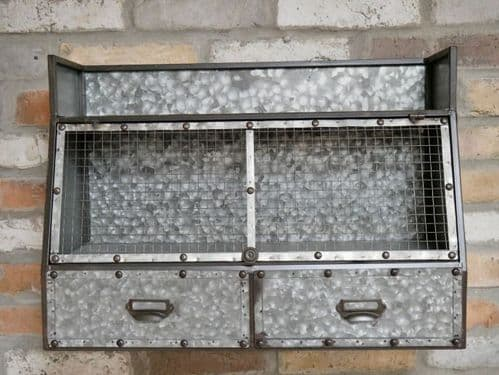 INDUSTRIAL RECLAIMED RUSTIC GREY METAL STORAGE WALL CABINET UNIT DRAWERS  DX5488