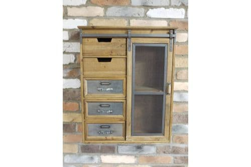 INDUSTRIAL RECLAIMED RUSTIC WOOD METAL STORAGE WALL CABINET UNIT DRAWERS  DX5228