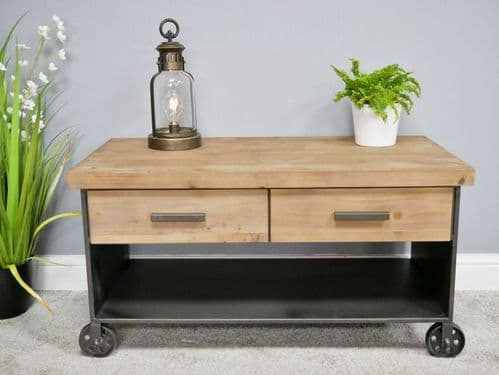 INDUSTRIAL RUSTIC STYLE WOOD & METAL COFFEE TABLE WITH WHEELS & DRAWERS (DX6507)