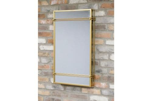 Industrial Style Modern Gold Cage Pipe Metal Wall Mirror (DX6471) 81cm