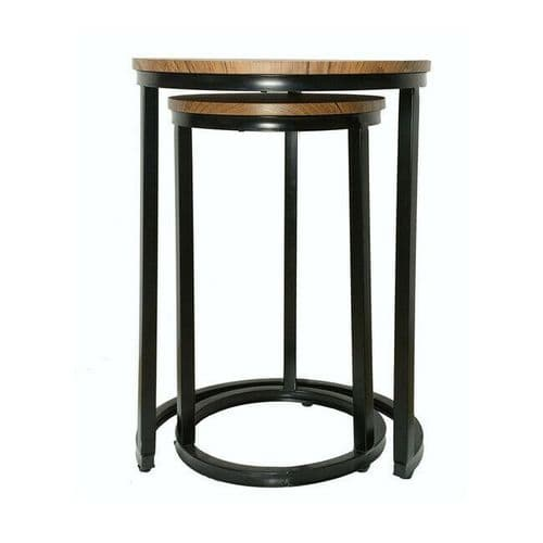 INDUSTRIAL URBAN CHIC BLACK METAL FRAME WOODEN TOP NEST SET 2 TABLES SIDE LAMP