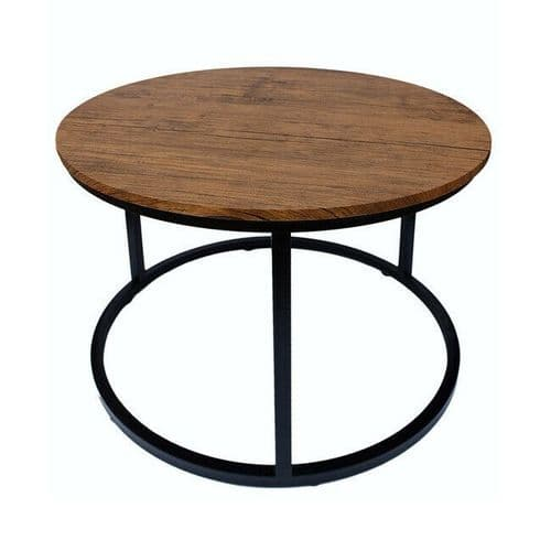 INDUSTRIAL URBAN CHIC BLACK METAL FRAME WOODEN TOP ROUND COFFEE TABLE