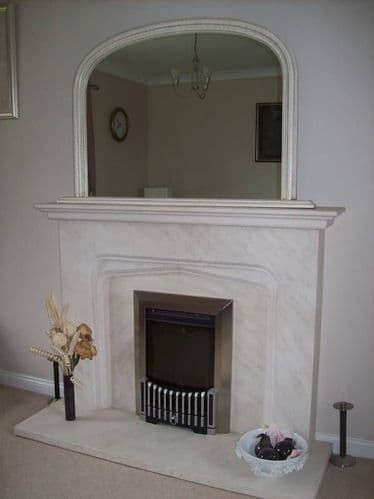 """IVORY CRACKLED ARCHED OVERMANTLE MIRROR - Width 47"""" x Height 31"""" (120cm x 78cm)"""