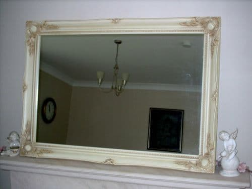 "IVORY NATURAL EXTRA LARGE WALL MIRROR - 30"" x 42"" (75cm x 105cm) Superb Quality"