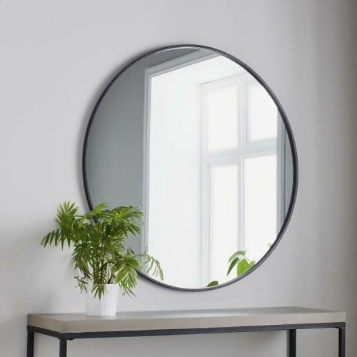 LARGE BLACK METAL CONTEMPORARY CIRCULAR ROUND WALL MIRROR 100cm