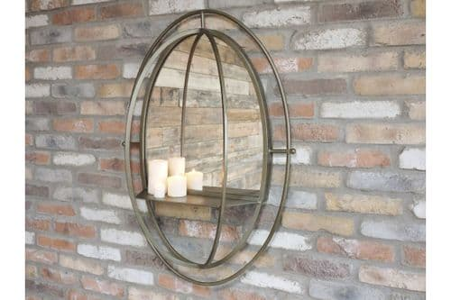 Large Industrial Bronze Grey Metal Oval Wall Mirror with Shelf (DX5567) 99cm