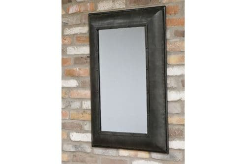 Large Industrial Distressed Gunmetal Grey Black Iron Wall Mirror (DX6297) 91cm
