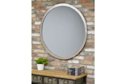 Large Industrial Distressed Silver Metal Edge Round Wall Mirror (DX6426) 100cm