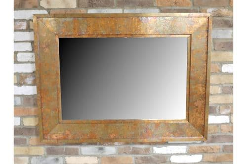 Large Industrial Rusty Metal Copper Finish Wall Mirror (DX5271) 122cm