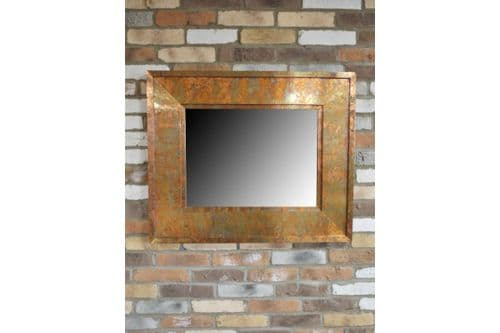 Large Industrial Rusty Metal Copper Finish Wall Mirror (DX5273) 91cm