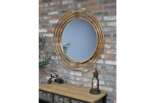 Large Modern Geometric Pipe Brushed Gold Round Wall Mirror (DX6425) 91cm