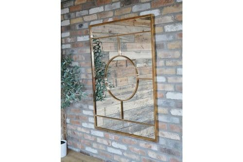 Large Modern Geometric Polished Gold Metal Wall Mirror (DX6427) 120cm