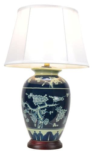Large Oriental Ceramic Porcelain Table Lamp (M9110) - Chinese Mandarin Style