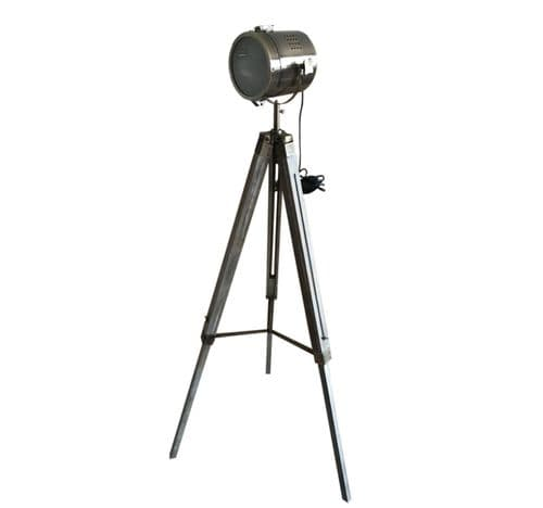 Large Vintage Style Wooden Metal Spotlight Tripod Floor Lamp Height 147.5cm