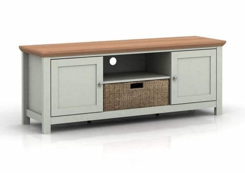 LIGHT GREY & OAK COUNTRY TELEVISION UNIT TV CABINET WITH BASKET STORAGE