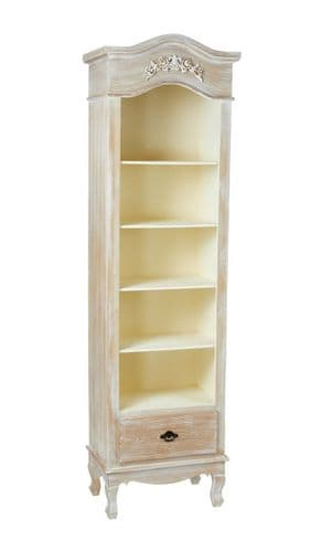 LIMED OAK SHABBY CHIC FRENCH COUNTRY DISPLAY CABINET BOOKCASE WITH SHELVES