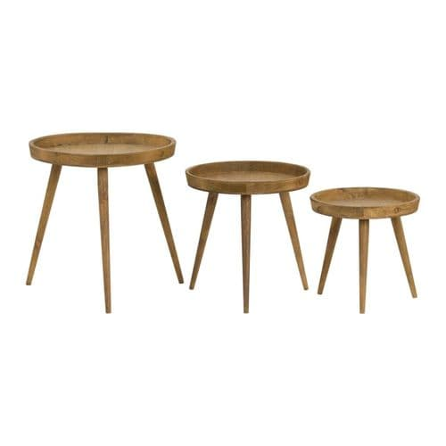 LOFT INDUSTRIAL STYLE RUSTIC WOODEN ROUND SET OF 3 SIDE END LAMP COFFEE TABLES