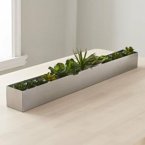 LONG SILVER TABLE CENTREPIECE PLANT HOLDER WINDOW BOX