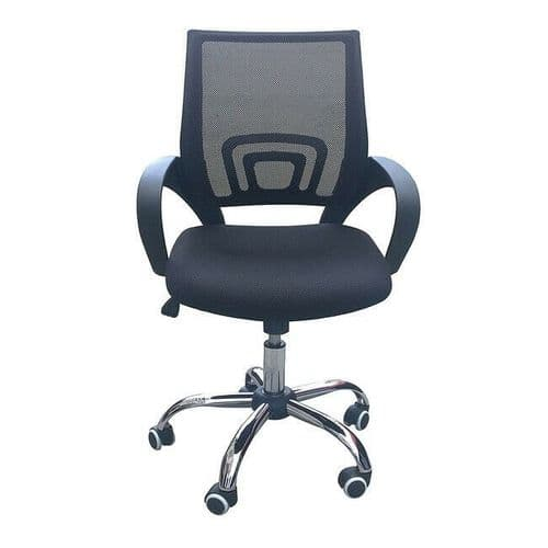 MESH OFFICE CHAIR WHEELS & UPHOLSTERED PADDED SEAT - BLACK WHITE BLUE ORANGE