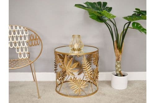 METALLIC GOLD LEAF METAL ROUND MIRRORED GLASS SIDE END COFFEE TABLE (DX6431)