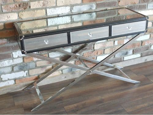 MIRRORED GLASS CONSOLE TABLE SIDEBOARD WITH BLACK FAUX LEATHER TRIM (DX4287)
